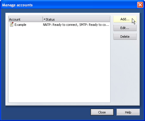"""If you have created an account before a """"Manage accounts"""" dialog opens ..."""