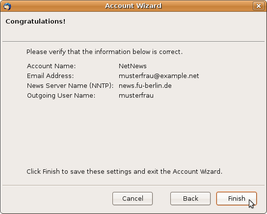 In the last dialog of the account wizard you see a summary of your ...