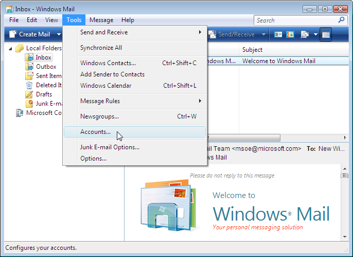 Now the program window of Windows Mail is shown. The Microsoft news ...