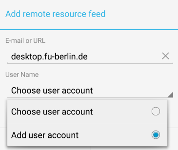 Add user account auswählen