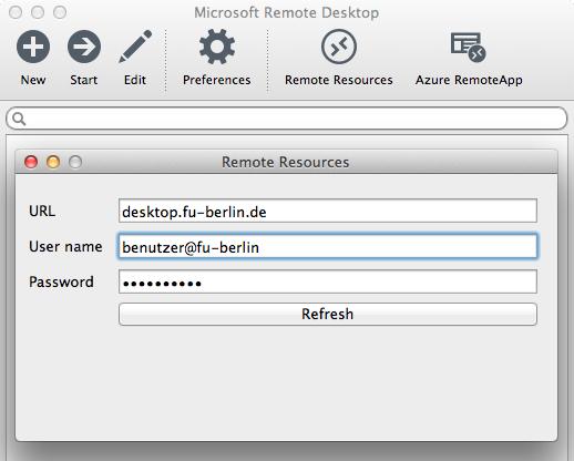 URL, Benutzername und Passwort unter Remote Resources eintragen