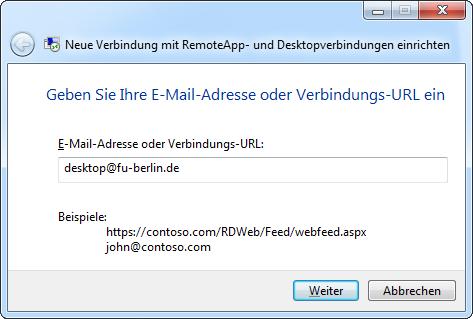 Eingabe von desktop@fu-berlin.de